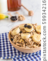 granola with banana, raisin and milk 59934216