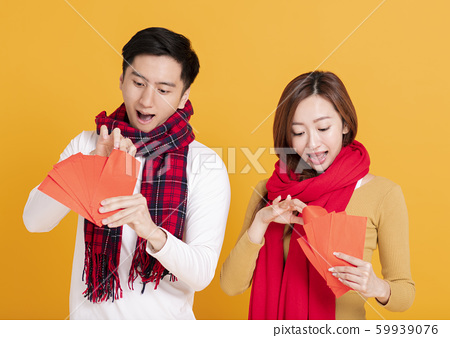 happy asian young couple celebrating  chinese new 59939076