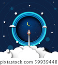 Paper art of rocket ship launch explore to galaxy outer space template background.Vector illustration. 59939448