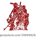 Baseball players action cartoon sport graphic vector 59940626