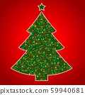 Vegan Christmas and healthy eating with fruit and vegetables icons in a christmas tree. 59940681