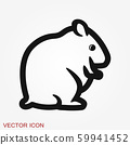 Hamster icon in flat style on background, animal 59941452