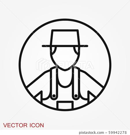 Farmer icon - vector farmer avatar or symbol 59942278