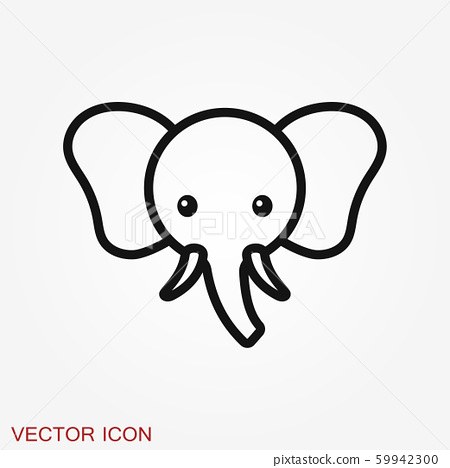 elephant icon vector logo line art illustration stock illustration 59942300 pixta elephant icon vector logo line art