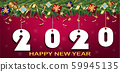 Merry Christmas banner. 2020 word from white paper Origami style with gifts box and decorative object,Xmas background,Gold star,Christmas Tree,Vector concept celebration and copy space background. 59945135