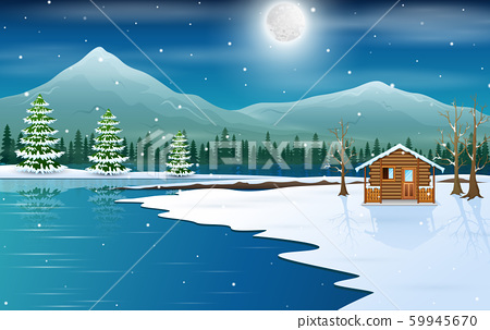 Winter landscape with a wooden small house 59945670