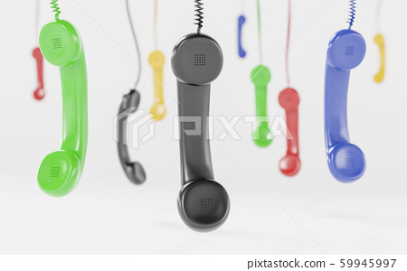Red and multi-coloured telephone receiver hanging concept for on the phone, customer service, on hold or contact us 3d render illustration 59945997