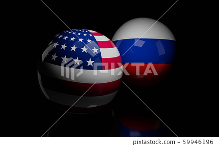 abstract Russia flag and USA flag on shiny billard balls 3d render illustration 59946196