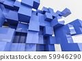 abstract 3d blue cubes in front of white background render illustration 59946290