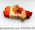 3d textured Canada map with a Canadian flag 59946540