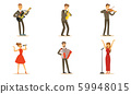 Men and women musicians and singers. Set of vector illustrations. 59948015