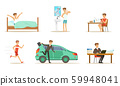 Morning routine of a mans day. Set of vector illustrations. 59948041
