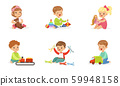 Toddlers play with different toys. Vector illustration. 59948158