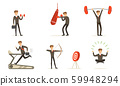 Achievements And Different Actions Of A Successful Businessman Vector Illustration Set Isolated On White Background 59948294