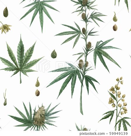 Beautiful vector watercolor medical marijuana seamless pattern. Natural therapeutic drug. 59949139