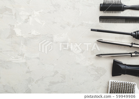 Flat lay composition with Hairdresser tools: 59949986