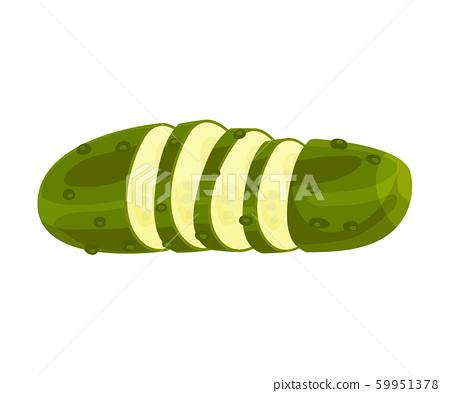 Sliced Emerald Green Pimpled Cucumber Vector Item 59951378