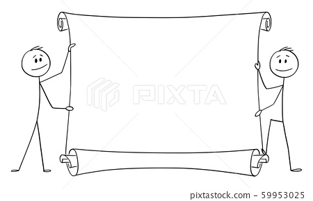 Vector Cartoon Illustration of Two Men or Businessmen Holding Empty Scroll 59953025
