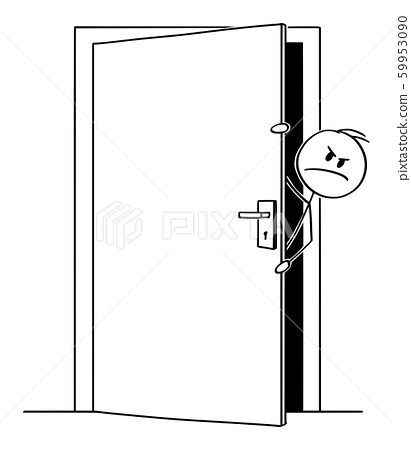 Vector Cartoon Illustration of Angry Man or Businessman Peeping out From Behind the Slightly Open Door 59953090