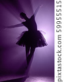 Silhouette of impressive girl dancing ballet in tutu on stage in front of spotlight with colored violet neon light. Copy space. Volumetric painting, smoke scene. 59955515