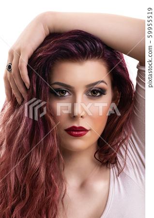 Beauty portrait of woman with smokey makeup 59955519