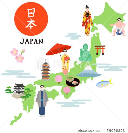 日本地圖插圖地圖 59956898