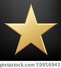 Golden Star And Isolated Black Background 59956943