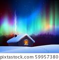 Vector illustration of winter night landscape 59957380