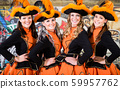 German folklore group dancing in Carnival Fasching on Rose Monday 59957762