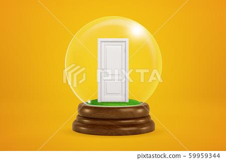 3d rendering of closed white door inside glass ball globe on amber background. 59959344