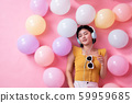 Asian Beauty girl with colorful air balloons 59959685