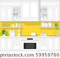 Interior design with modern kitchen in black line sketch on colourful background 59959760