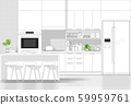 Interior design with modern kitchen in black line sketch on white background 59959761