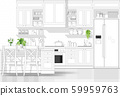 Interior design with modern kitchen in black line sketch on white background 59959763