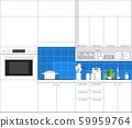 Interior design with modern kitchen in black line sketch on colourful background 59959764