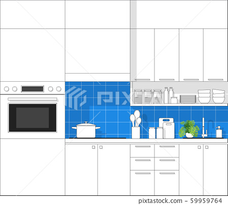 Interior design with modern kitchen in black line sketch on colourful background 59959764