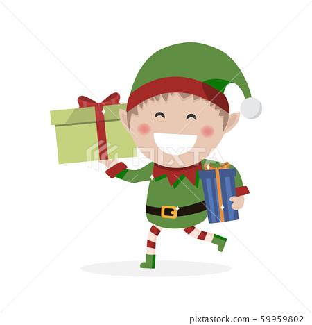 Christmas goblin. Little elf with presents. Vector 59959802
