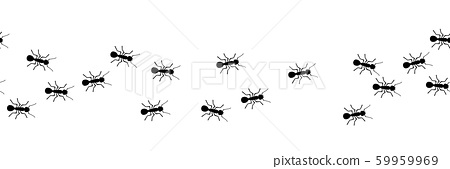 Worker ants marching. Vector ant seamless border. Working team concept. 59959969