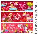 Valentines Day Cupids with hearts, gifts, flowers 59960291