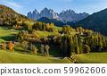 Autumn evening Santa Magdalena famous Italy 59962606