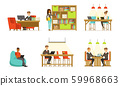 Men and women work in the office. Vector illustration. 59968663