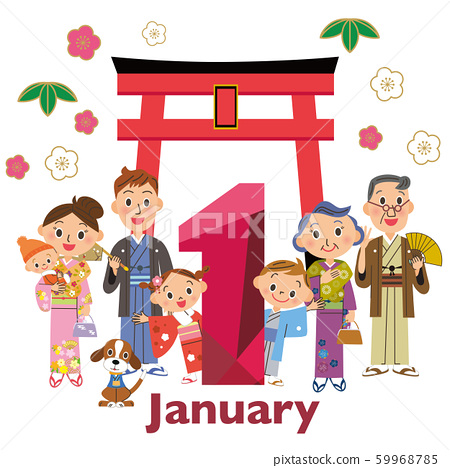 January Three generation family Torii New Year 59968785