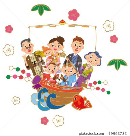 Three generation family celebrating the New Year on a treasure boat 59968788