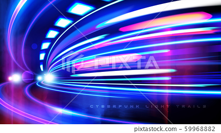 Cyberpunk Light Trails Effect in Vector 59968882
