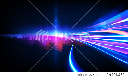 Cyberpunk Light Trails Effect in Vector 59968883