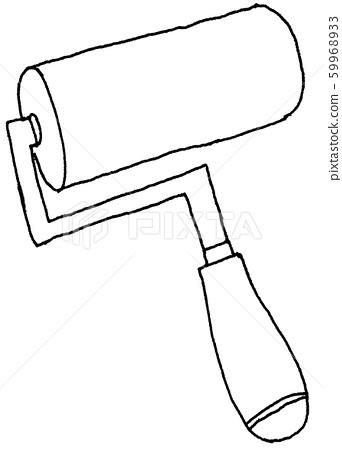 Paint Rolling brush [Hand drawn] [Analog illustration] [Line drawing] 59968933