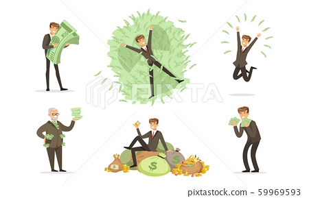 Men in classic suits bathe with bundles of green notes and bags of gold coins. Vector illustration. 59969593