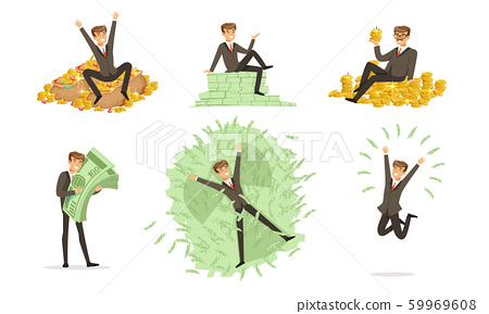 Men in classic costumes bathe in money. Vector illustration. 59969608