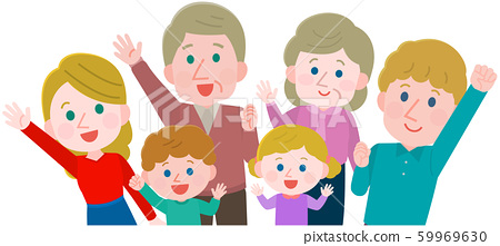 Raise your hands Foreigner Family 3 generations Illustration 59969630