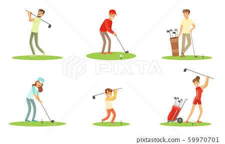 Different People Characters Playing Golf Outdoor Vector Illustration Set Isolated On White Background 59970701